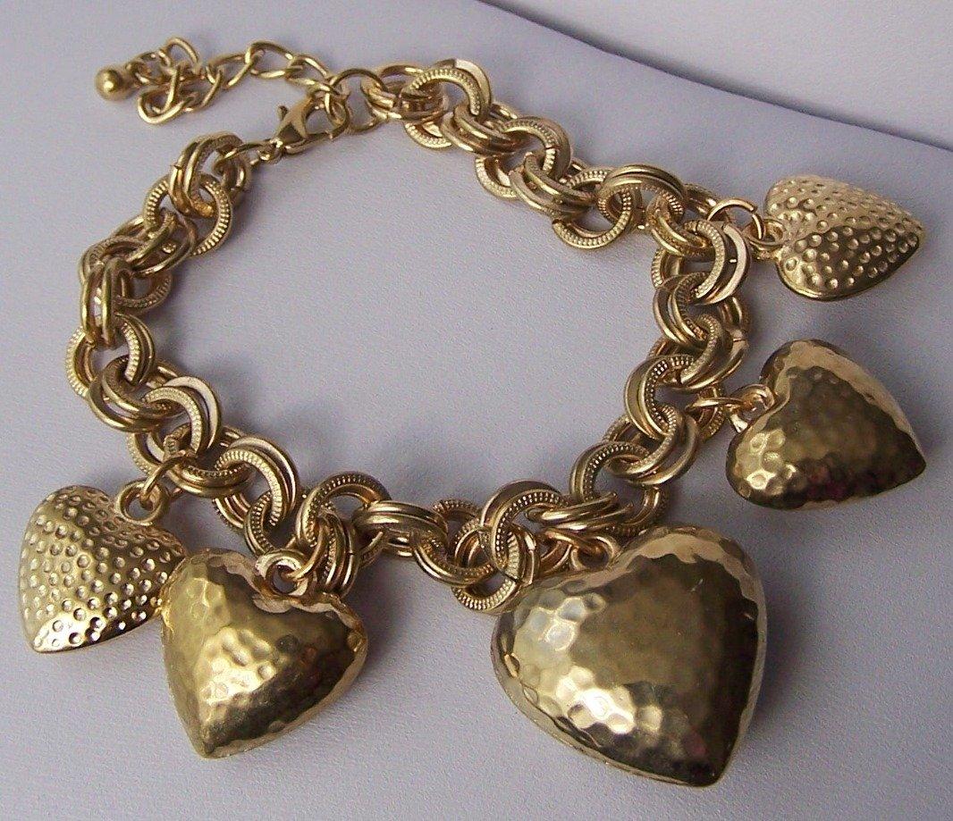 Puffy Doublelink Gold Tone 3D Heart Love Valentines Day Charm Bracelet