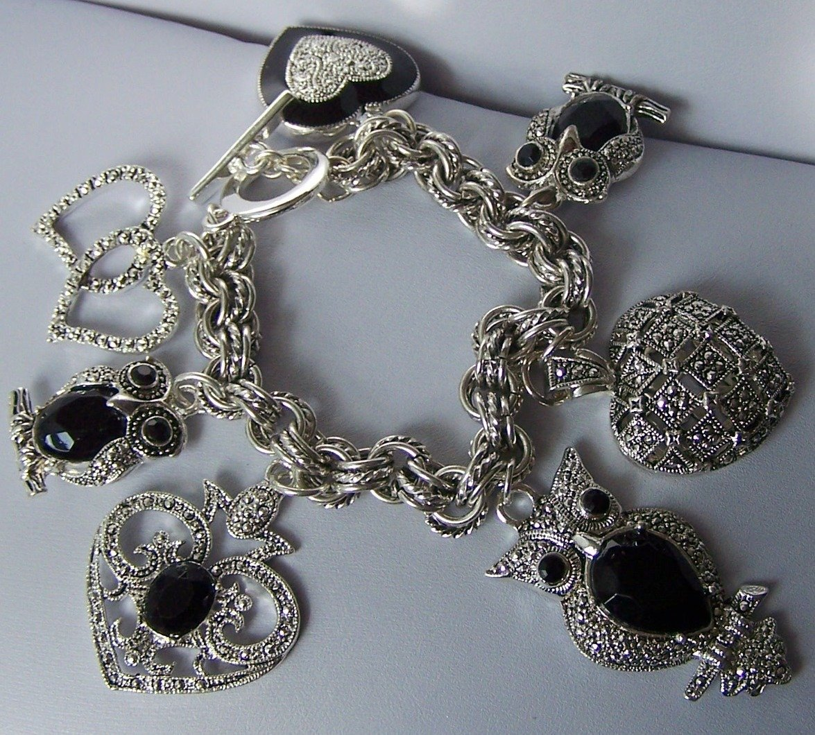 Black Chunky Owl Heart Love Valentines Day Charm Bracelet