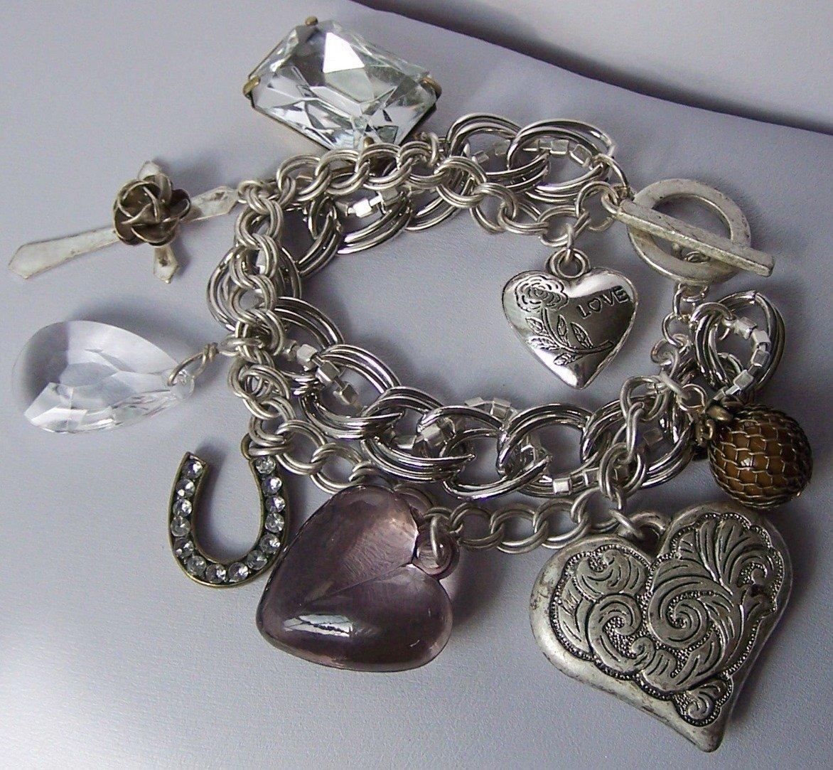 Chunky Clear Crystal Horseshoe Cross 3D Heart Love Valentines Day Charm Bracelet