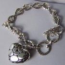 3D Pebblestone Style Heart Love Valentines Day Charm Bracelet