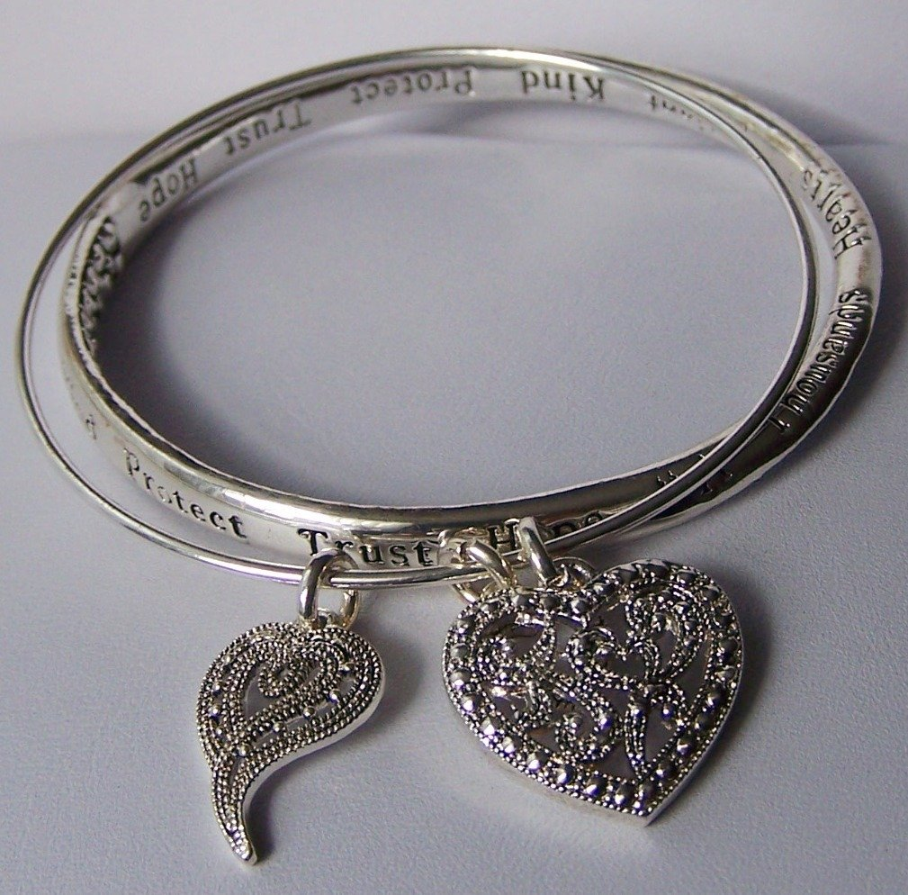 Trust Protect Hope Kind Bangle Heart Love Valentines Day Charm Bracelet