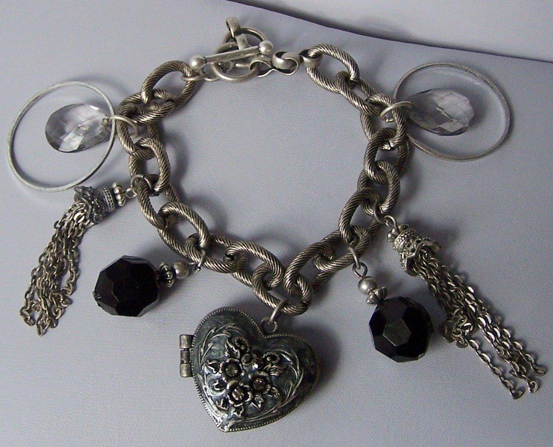 Black Heart Love Austrian Crystal Tassel Valentines Day Locket Charm Bracelet