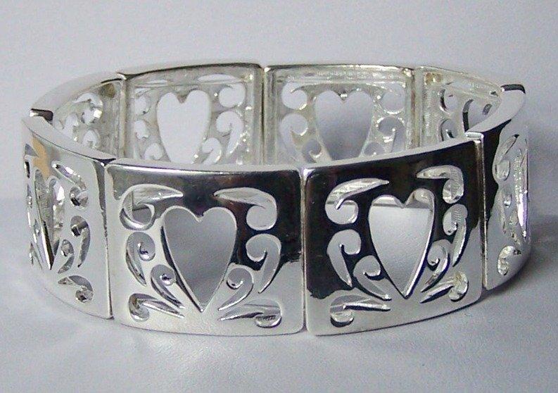 Open Silver Tone Heart Love Valentines Day Bangle Bracelet