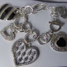 Chunky Black Textured Heart Love Valentines Day Charm Bracelet