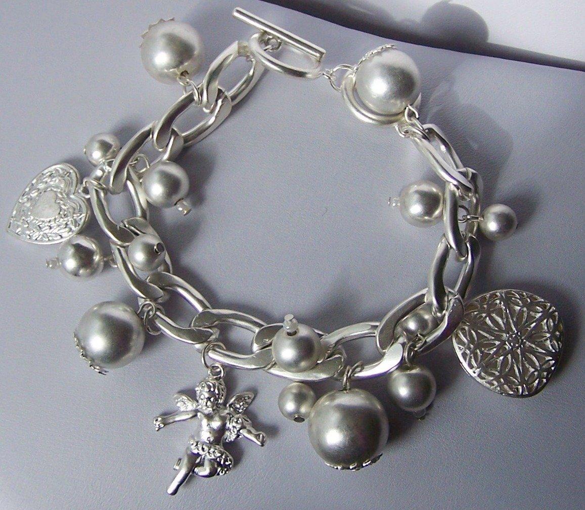 Silver Tone Cherub Guardian Angel Heart Love Valentines Day Charm Bracelet