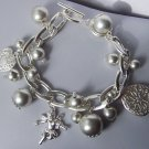 Silver Tone Cherub Guardian Angel Heart Love Valentines Day Charm Bracelet