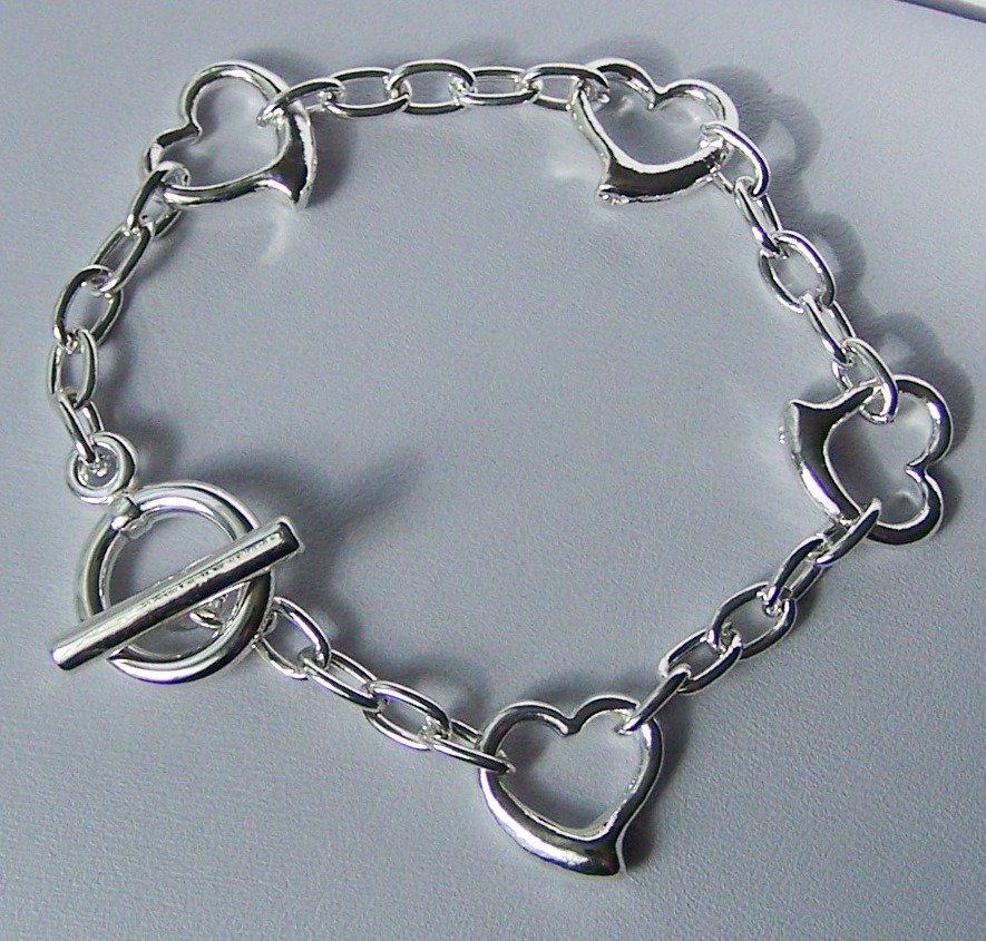 Silver Tone Open Heart Love Valentines Day Charm Bracelet