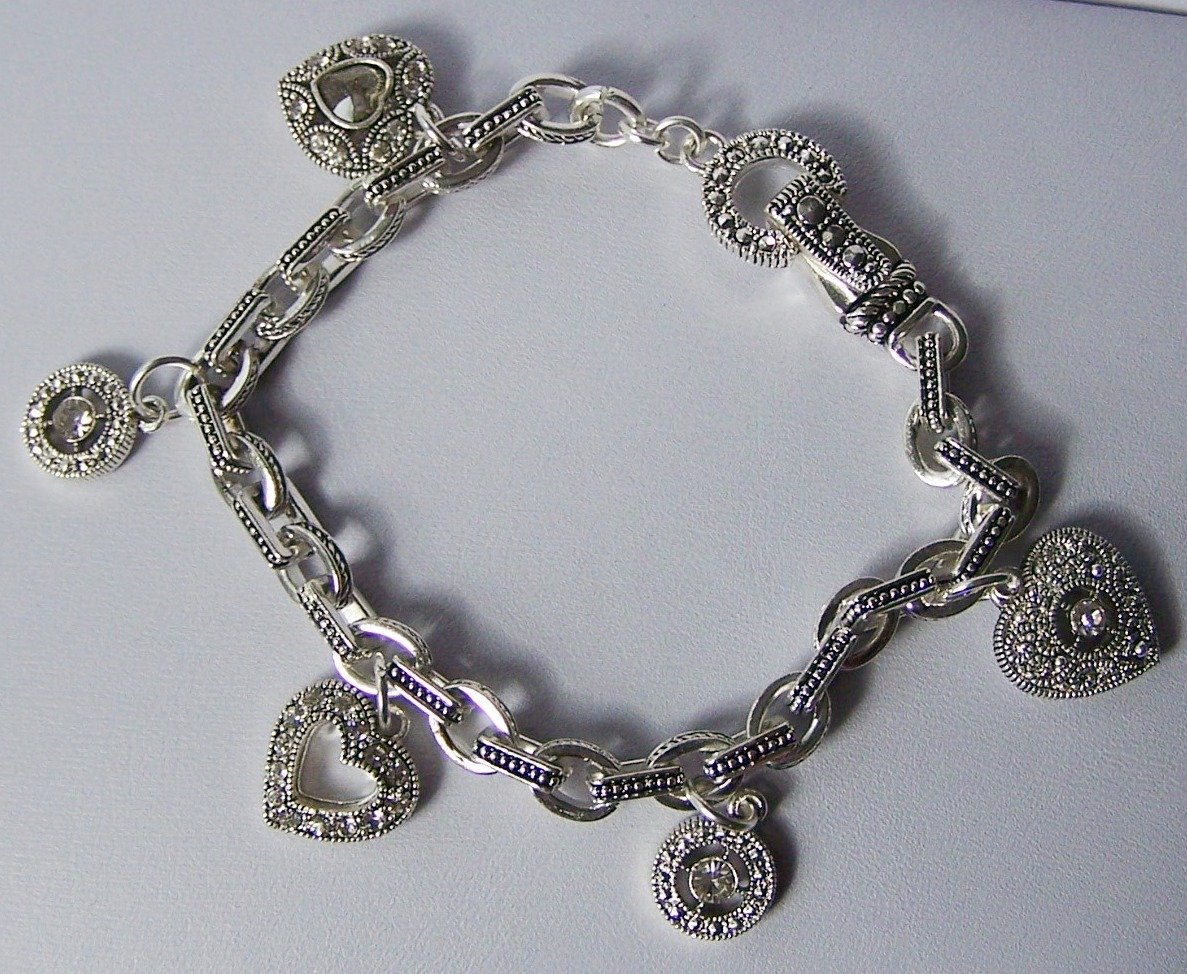 Clear Crystal Marcasite Style Heart Love Valentines Day Charm Bracelet