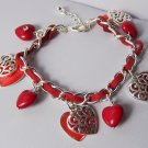 Red Filigree 3D Heart Love Valentines Day Charm Bracelet