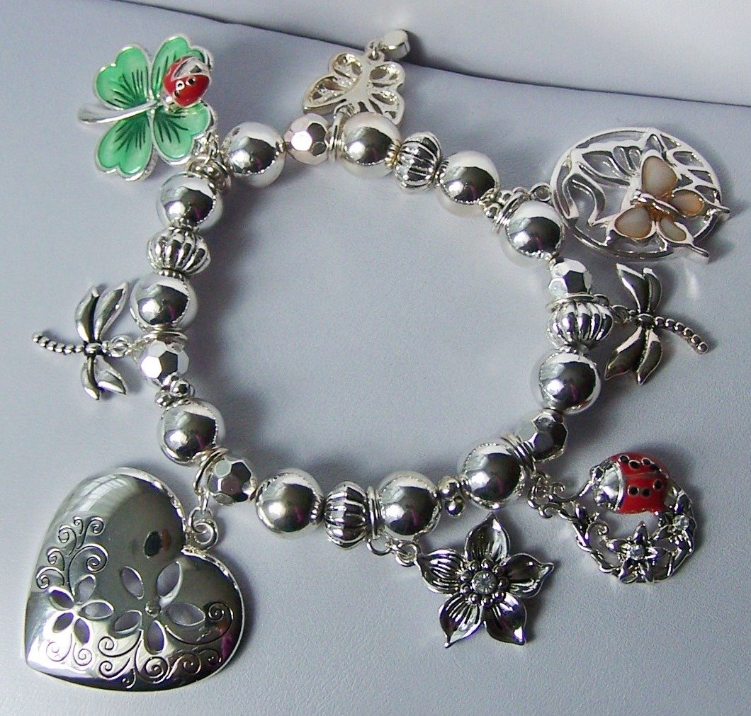 Garden Lover Lady Bug Four Leaf Clover Butterfly Spring Heart Love Valentines Day Charm Bracelet