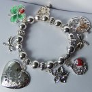 Garden Lover Lady Bug Four Leaf Clover Butterfly Spring Heart Love Valentines Day Charm Bracelet