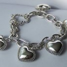 3D Puffy Silver Tone Heart Love Valentines Day Charm Bracelet