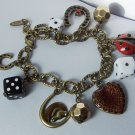 Good Luck Dice Horseshoe Horse Head Heart Love Valentines Day Charm Bracelet