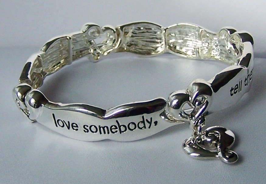 If You Love Somebody Tell Them Heart Valentines Day Charm Bracelet