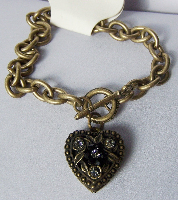 Black Crystal Gold Tone Heart Love Valentines Day Charm Locket Bracelet