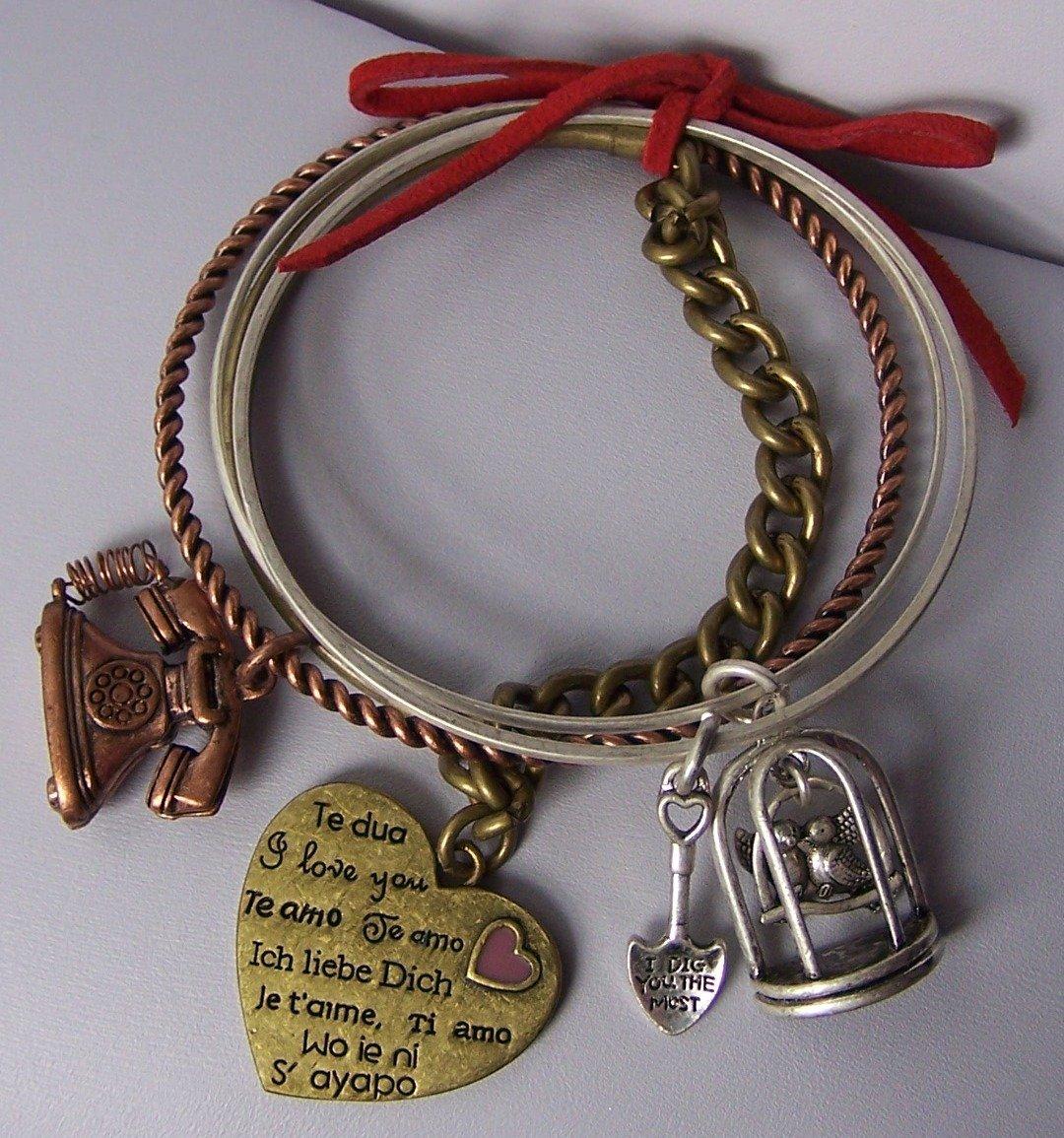 Te Quiero Ich Liebe Dich Heart Love Valentines Day Bangle Bracelet