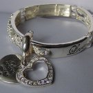 Love Has Not Limits Clear Crystal Heart Valentines Day Bangle Bracelet