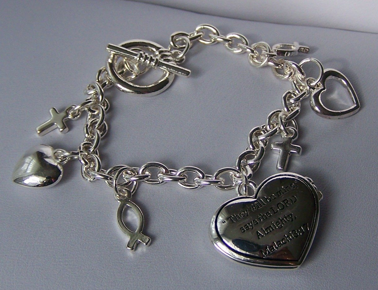 Religious Christian Malachi 3:17 They Will Be Mine Heart Locket Cross Heart Charm Bracelet