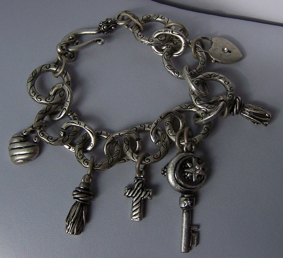 Burnished Key Keys Cross Heart Locket Charm Bracelet