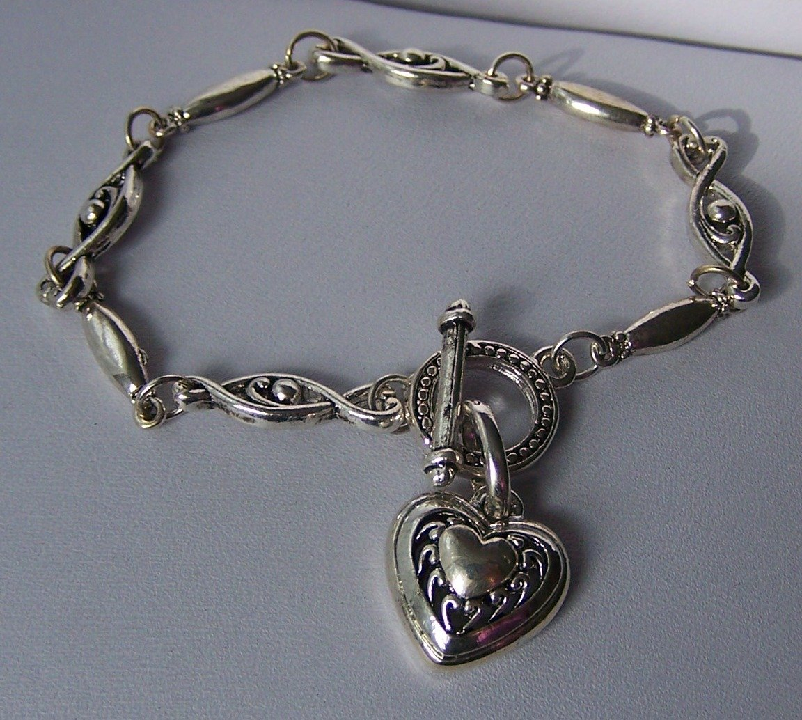 Textured Silver Colored Heart Love Valentines Day Charm Bracelet