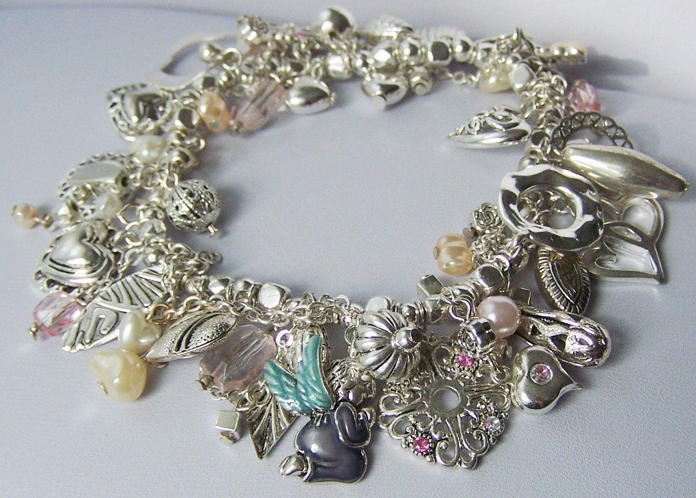 Inspirational Guardian Angel Heart Love Pink Charm Pearl Bracelet