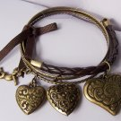 Burnished Cherub Guardian Angel Brown Ribbon Braided Bangle Heart Love Valentines Day Charm Bracelet