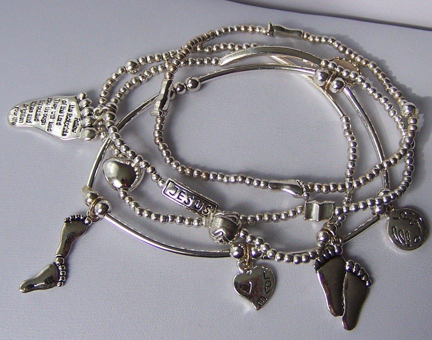 Religious Christian Footprints Footsteps  Foot Charm Multistrand Bracelet