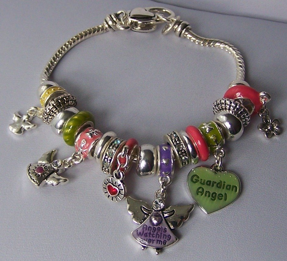 Multicolor Green Pink Purple Flower Guardian Angel Charm Bracelet
