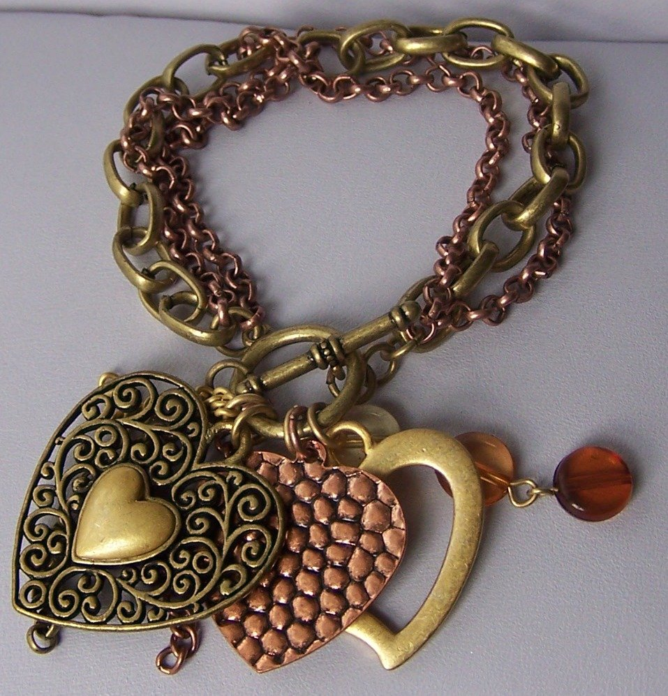 Burnished Two Tone Copper Tone Heart Love Valentines Day Charm Bracelet
