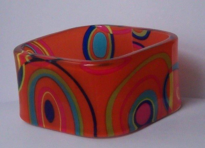 Orange Blue Green Yellow Pink Multicolor Square Bangle Bracelet