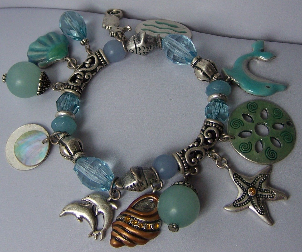 Blue Green Brown Charm Dolphin Sea Shell Charm Bracelet