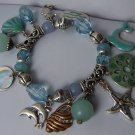 Blue Green Brown Charm Dolphin Sea Shell Charm Bracelet