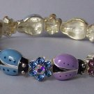 Spring Multicolor Ladybug Purple Blue Pink Yellow Green Crystal Bangle Bracelet