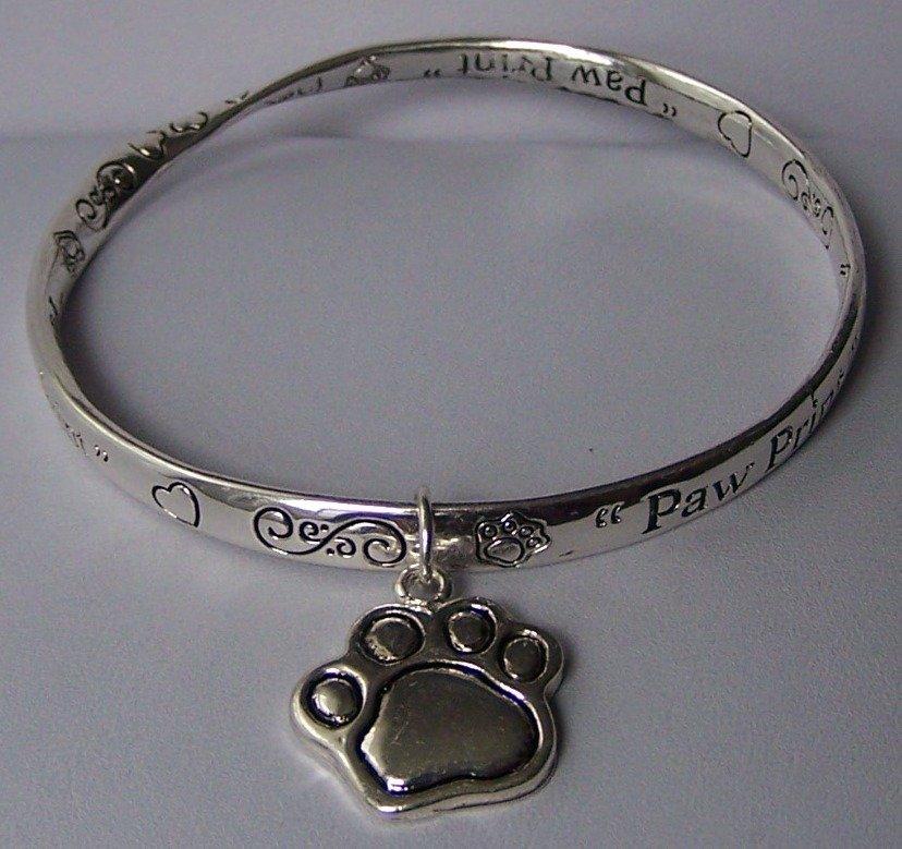 Paw Print Foot Bangle Bracelet