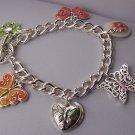Spring Pink Green Butterfly Flower Charm Bracelet