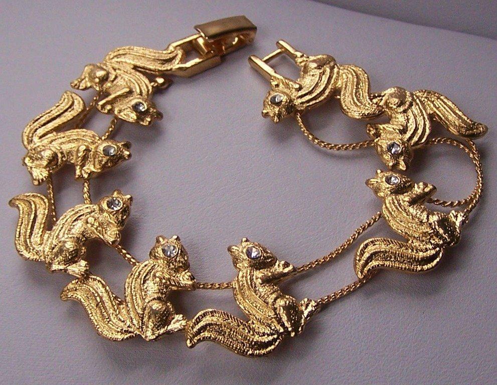 Clear Crystal Gold Tone Squirrel Squirrels Animal Bracelet