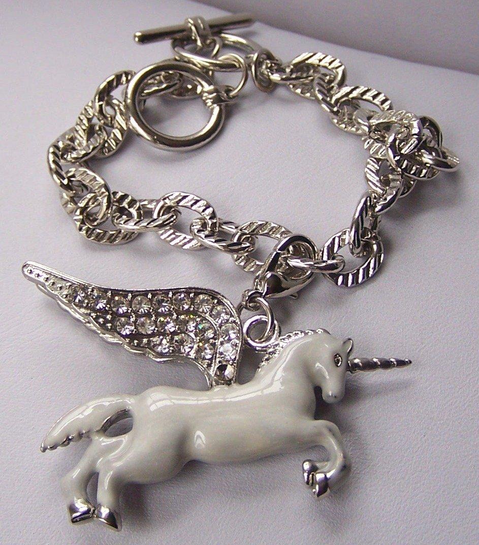 Chunky White Unicorn Clear Crystal Charm Bracelet
