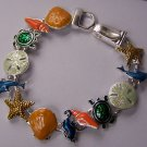 Multicolor Green Orange Blue Sea Creature Turtle Shell Starfish, Sand Dollar Horse Bracelet