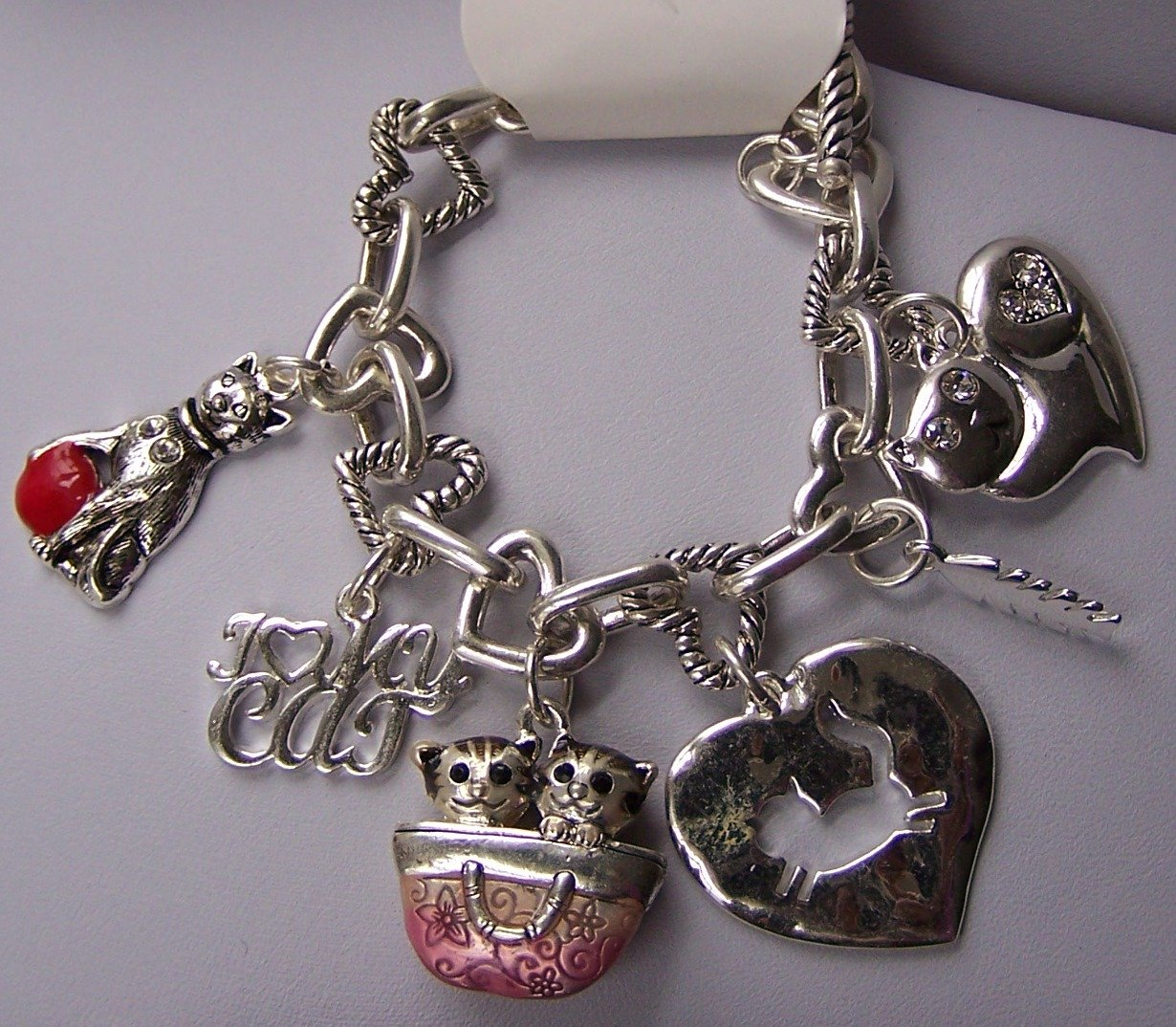 I Love Kitty Cat Kitten Heart Love Charm Bracelet