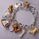 Dog Lover Love Puppy Carrier Charm Bracelet