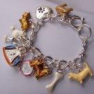 Dog Lover Love Puppy Carrier Charm Bracelet