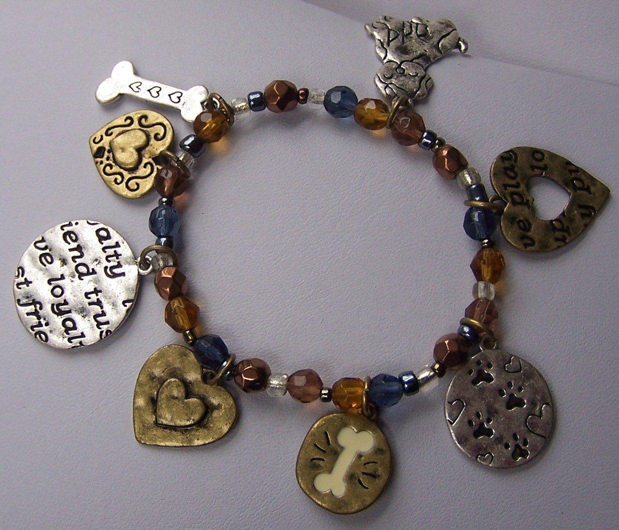 Blue Brown Dog Bone Loyalty Trust Friend Heart Charm Bracelet
