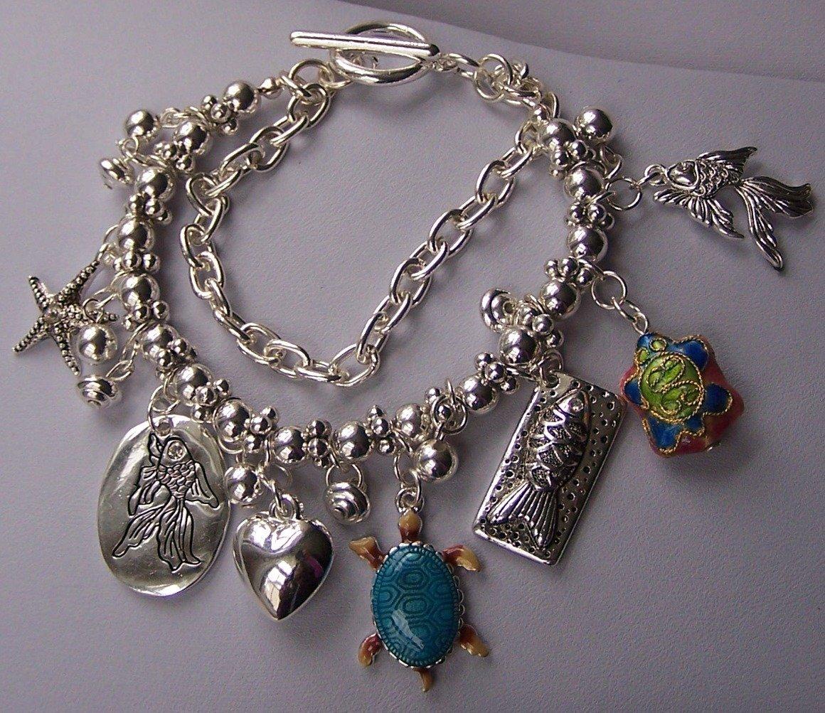 Love Silver Tone Multistrand Sea Create Turtle Fish Starfish Charm Bracelet