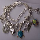 Love Silver Tone Multistrand Sea Create Turtle Fish Starfish Charm Bracelet
