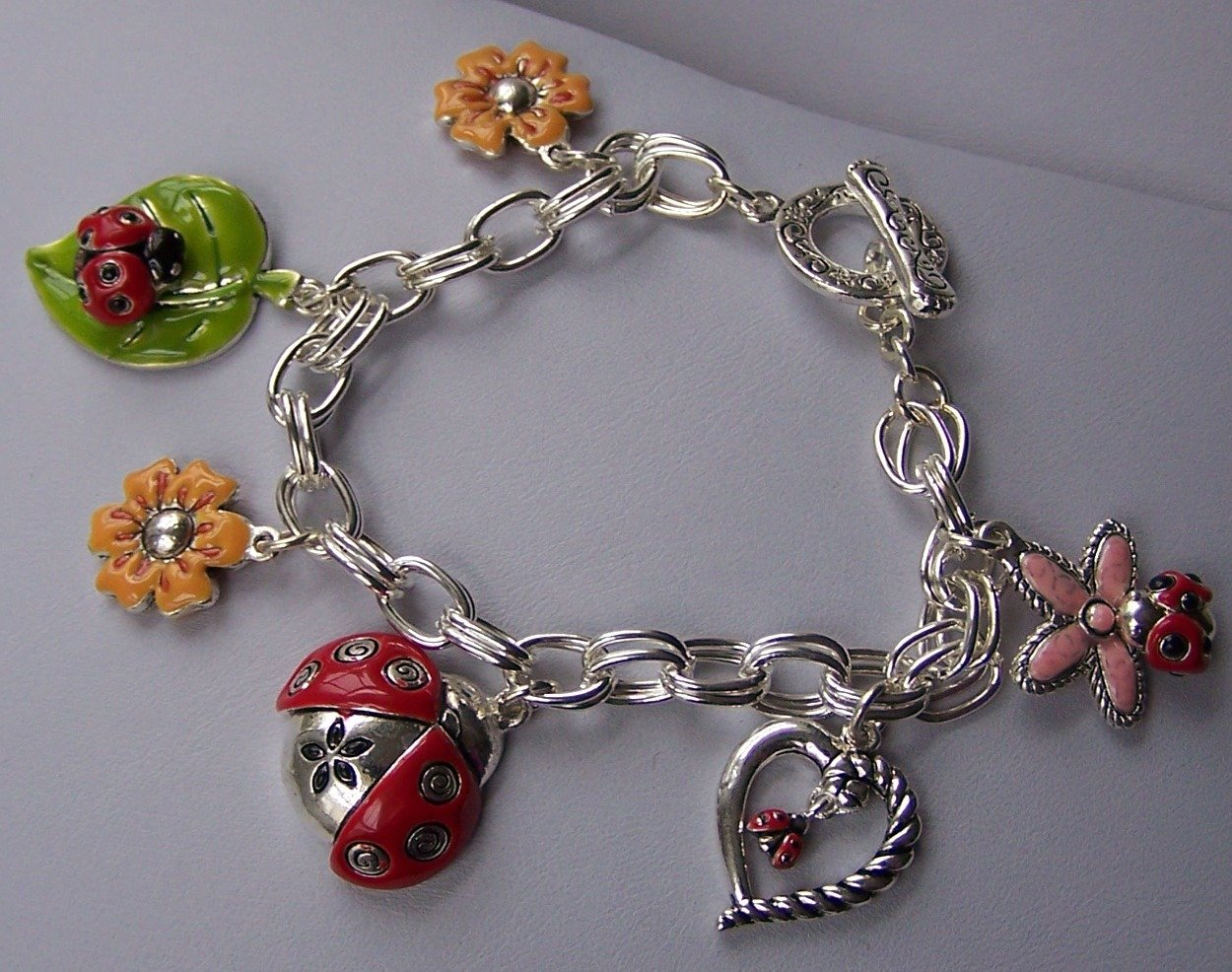 Spring Flower Heart Love Ladybug Lady Bug Leaf Charm Bracelet