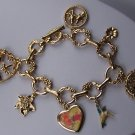 Spring Flower Gold Tone Heart Humming Bird Charm Bracelet