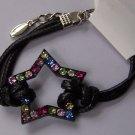 Black Multicolor Crystal Western Style Multicolor Crystal Cord Star Bracelet