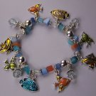 Blue Multicolor Tropical Fish Charm Bead Bracelet