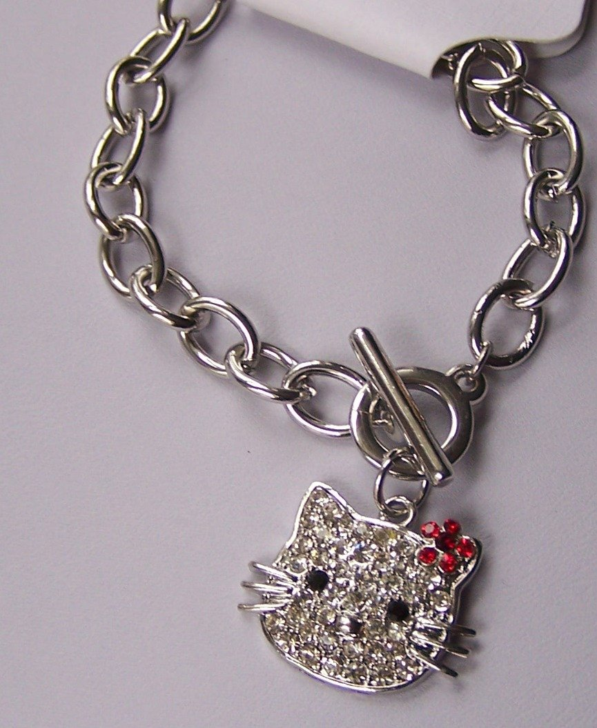 Hello Kitty Red Crystal Clear Kitten Cat Charm Bracelet