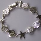 Silver Tone Star Starfish Fish Sea Shell Bracelet